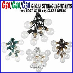 100 Foot Globe Patio Outdoor String Lights Set of 125 G50/G40/G30 Clear Bulbs