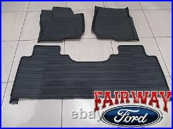 17 thru 22 Super Duty OEM Ford Tray Style Molded Floor Mat Set 3pc EXTENDED/CREW