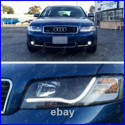 2002-2005 AUDI A4/S4 Euro Black Projector Headlight+LED Neon DRL Running Lamps