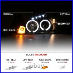 2006-2013 Chevy Impala SINISTER BLACK Angel Eye LED Projector Headlights Lamps