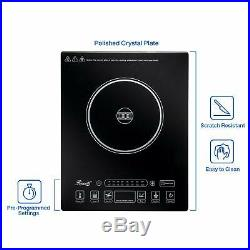 5 Pre-Programmed Settings Induction Cooker Cooktop Stainless Steel Pot, Black