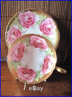 Aynsley Cabbage Rose Bone China Cup & Saucer Set Hand Painted