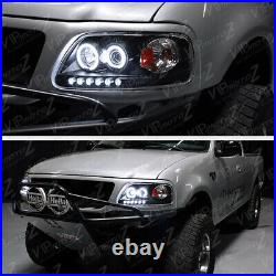 Black Dual LED Halo Ring Projector Lamp Headlight For 97-03 Ford F150/Expedition