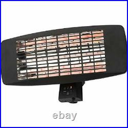 CGC Black 2000W Patio Heater Wall Mounted Infra Red 3 Heat Settings IP24 Outdoor