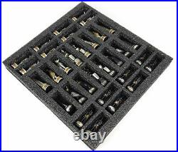 Egyptian Anubis BLACK SILVER AND GOLD Chess set With 16 HIEROGLYPHICS Board