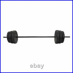 Everyday Essentials Home Gym Steel Barbell Vinyl Weight Lifting Set, 100 Pounds