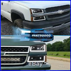 For 03-07 Chevy Silverado LED DRL Black Housing Amber Headlights + Bumper Lamps