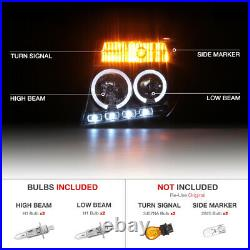 For 05-07 Nissan Pathfinder/Frontier Black Halo Ring LED DRL Projector Headlight