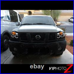 For 2004-2015 Nissan Titan SINISTER BLACK Halo LED Projector Headlights Lamps