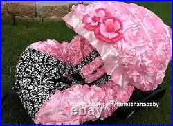 Infant car seat cover canopy cover set fit most seat Damask white black Pink