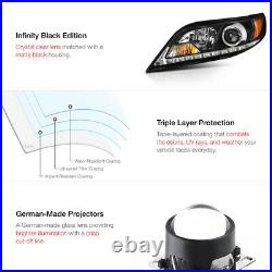LED STRIP DRL For 11-17 Toyota Sienna L LE XLE Black Headlight SET Replacement