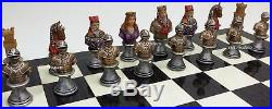 MEDIEVAL TIMES CRUSADE BUSTS Painted CHESS Set Black Geometric Design Board 17
