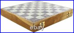 Marble Chess Set 25.5 cm Classic Staunton Chess Board Game Box with Storage