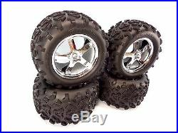 NEW TRAXXAS T-MAXX 3.3 4907 COMPLETE SET OF 4 TIRES AND WHEELS 14mm 2.5.15 4910