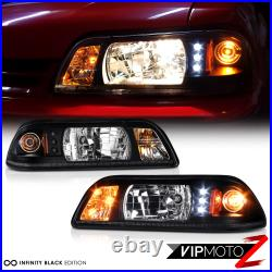 PAIR For 87-93 Ford Mustang 1P Upgrade LED DRL Headlight Signal Lamp Black Clear
