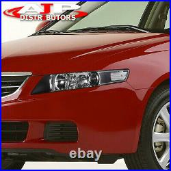 Replacement Black Housing Clear Headlights Lamps Pair For 2004-2008 Acura TSX