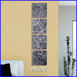 Set of 4 Steely Grey Hand-Etched Squares Wall Art Decor Accent Above the Fog