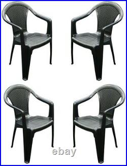 Set x 4 Rattan Plastic Strong Black Stackable Outdoor Patio Garden Chairs & Arms