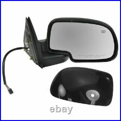 Side View Mirrors Power Heated withPuddle Gloss Black LH/RH Pair Set for Chevy GMC