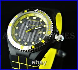 TechnoMarine 45mm CRUISE Black IP Yellow Accent Watch Set with extra strap & cover
