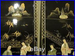 Vtg Chinese Painted Black Lacquer Wood Mother Of Pearl Wall Hanging Panel Set 2