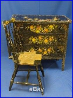 Whimsical Painted & Decorated Bedroom Set in Black Polychrome & Mother of Pearl